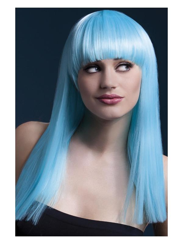 Fever Alexia Wig, Neon Aqua, Long Blunt Cut with Fringe, 48cm / 19in