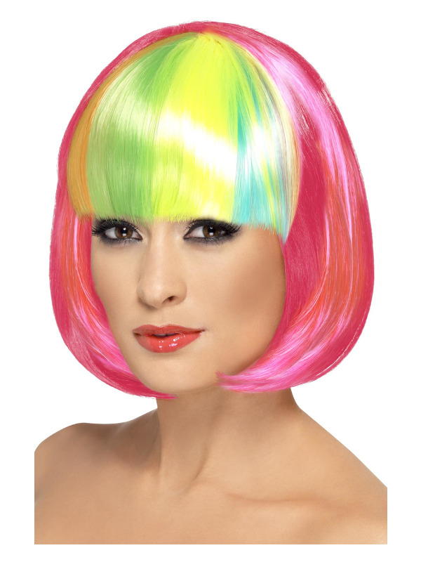 Partyrama Wig, 12 inch, Neon Pink, Short Bob with Rainbow Fringe
