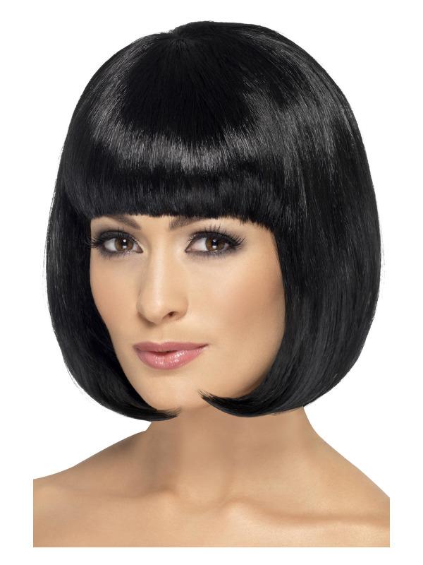 Partyrama Wig, 12 inch, Black, Short Bob with Fringe