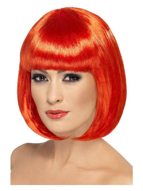 Partyrama Wig, 12 inch, Red, Short Bob with Fringe