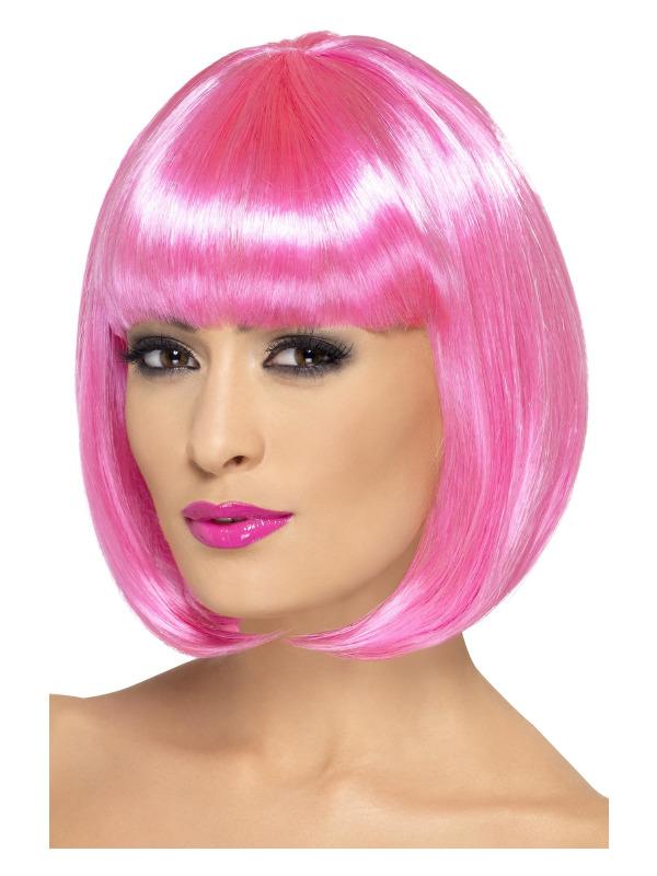 Partyrama Wig, 12 inch, Pink, Short Bob with Fringe