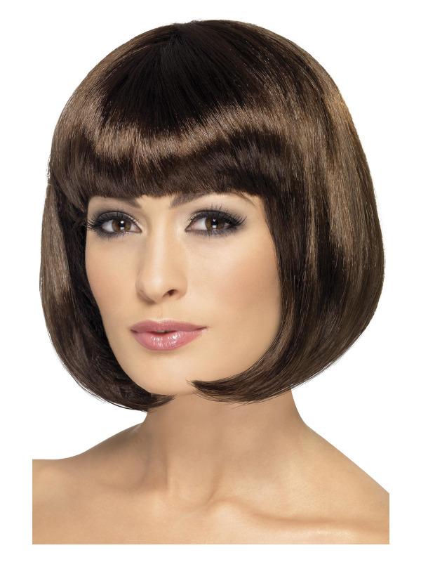 Partyrama Wig, 12 inch, Brown, Short Bob with Fringe