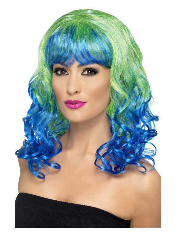 Divatastic Wig, Curly, Green & Blue, with Blue Fringe