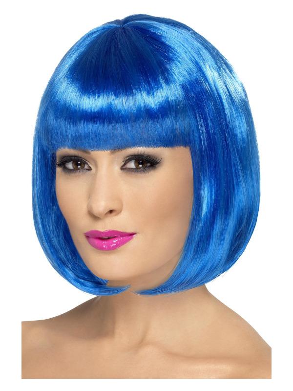 Partyrama Wig, 12 inch, Blue, Short Bob with Fringe