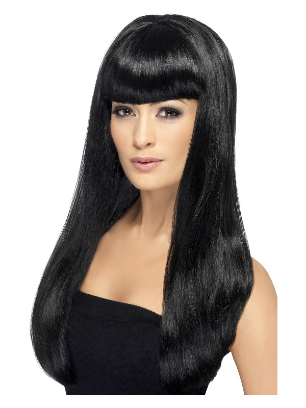 Babelicious Wig, Black, Long, Straight with Fringe