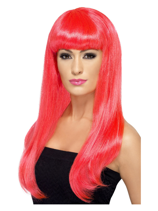 Babelicious Wig, Neon Pink, Long, Straight with Fringe