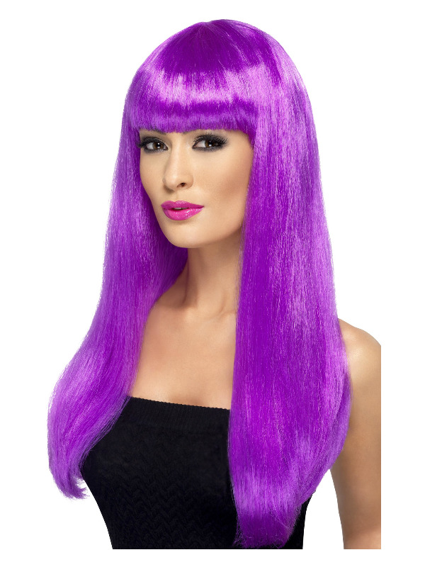 Babelicious Wig, Purple, Long, Straight with Fringe