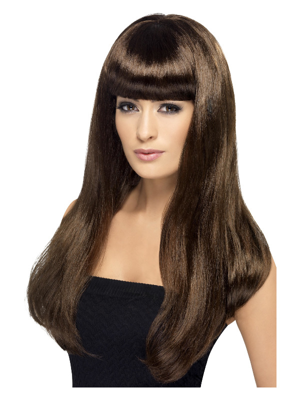 Babelicious Wig, Brown, Long, Straight with Fringe