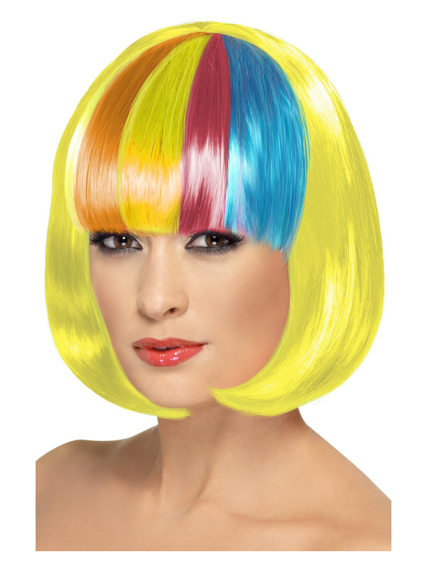 Partyrama Wig, 12 inch, Yellow, Short Bob with Rainbow Fringe