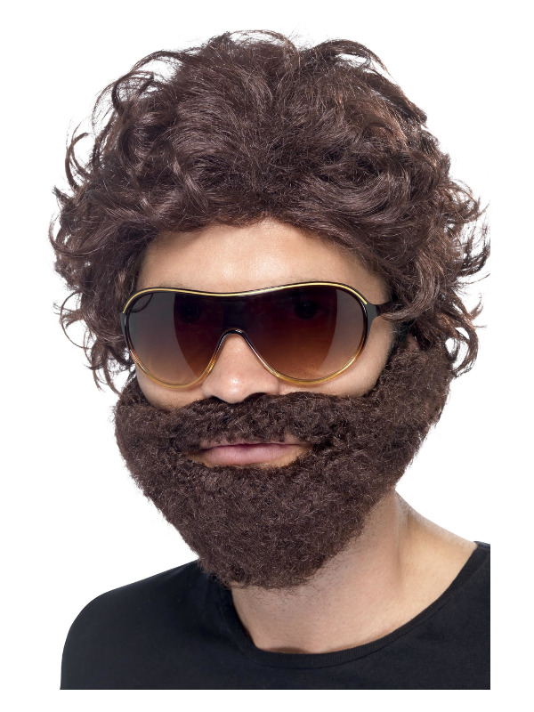 Stag Do Kit, Brown, with Wig, Beard and Sunglasses