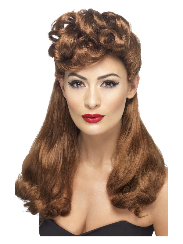 40s Vintage Wig, Auburn, Long with Top Curls