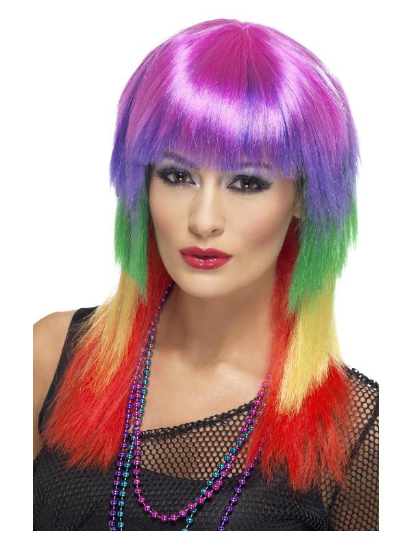Rainbow Rocker Wig, Rainbow, Long, with Fringe