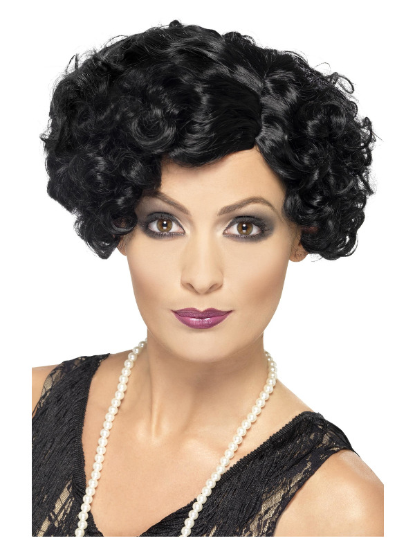 20s Flirty Flapper Wig, Black, Short and Wavy