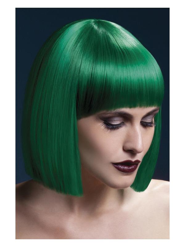 Fever Lola Wig, Green, Blunt Cut Bob with Fringe, 30cm / 12in