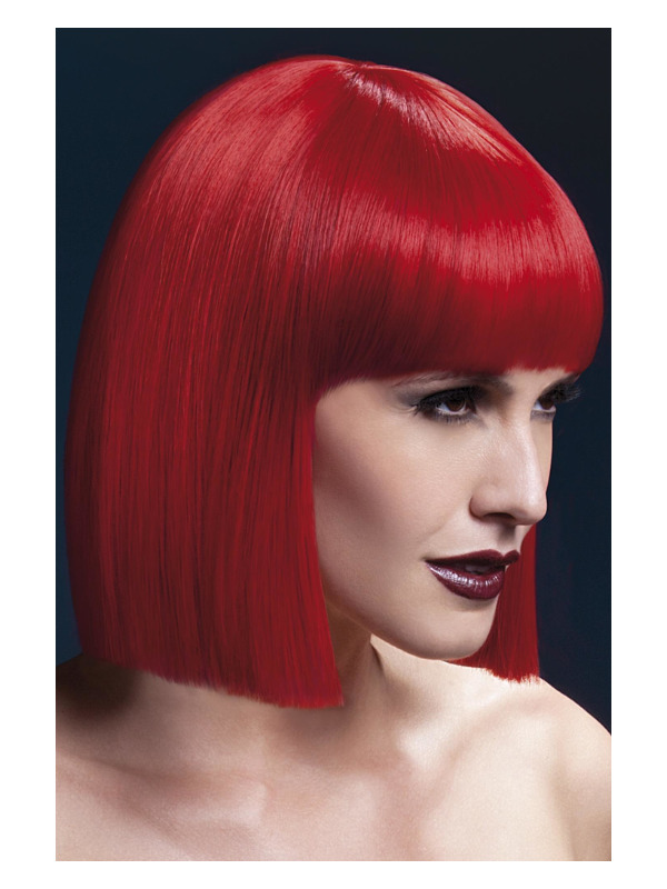 Fever Lola Wig, Red, Blunt Cut Bob with Fringe, 30cm / 12in