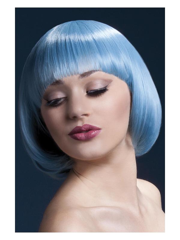 Fever Mia Wig, Pastel Blue, Short Bob with Fringe, 10inch/25cm