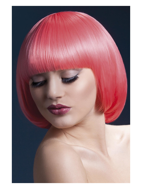 Fever Mia Wig, Pastel Coral, Short Bob with Fringe, 10inch/25cm