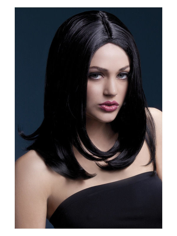 Fever Sophia Wig, Black, Long Layered with Centre Parting, 17inch/43cm