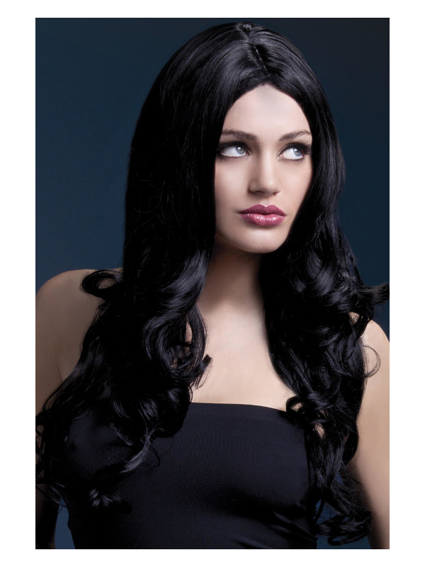 Fever Rhianne Wig, Black, Long Soft Curl with Centre Parting, 26inch/66cm