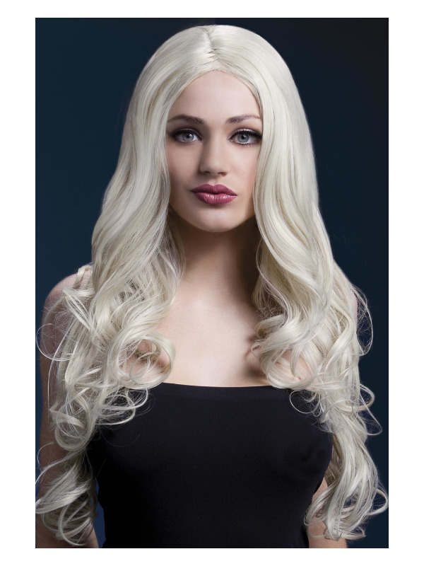 Fever Rhianne Wig, Blonde, Long Soft Curl with Centre Parting, 26inch/66cm
