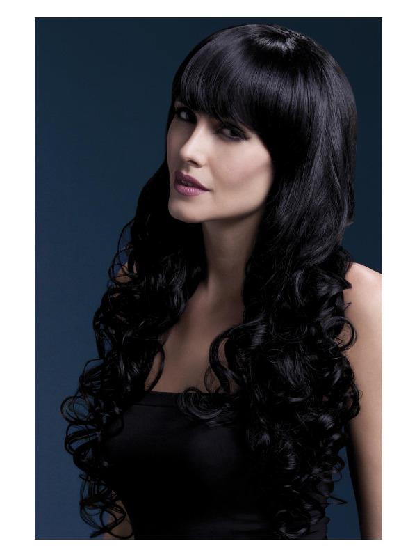 Fever Isabelle Wig, Black, Long Soft Curl with Fringe, 66cm / 26in