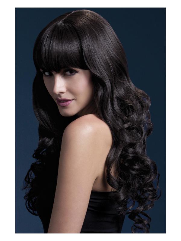 Fever Isabelle Wig, Brown, Long Soft Curl with Fringe, 66cm / 26in