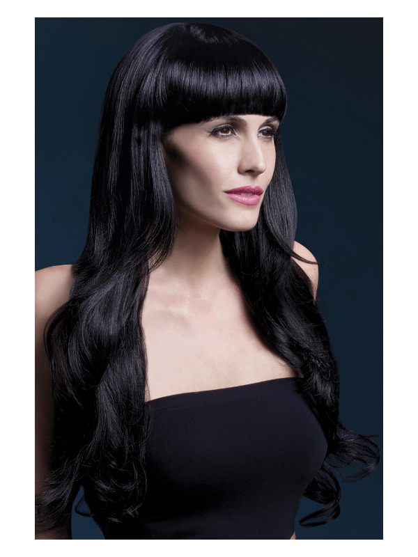 Fever Yasmin Wig, Black, Long Loose Curls with Fringe, 28inch/71cm