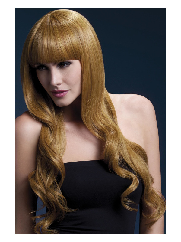 Fever Yasmin Wig, Auburn, Long Loose Curls with Fringe, 28inch/71cm