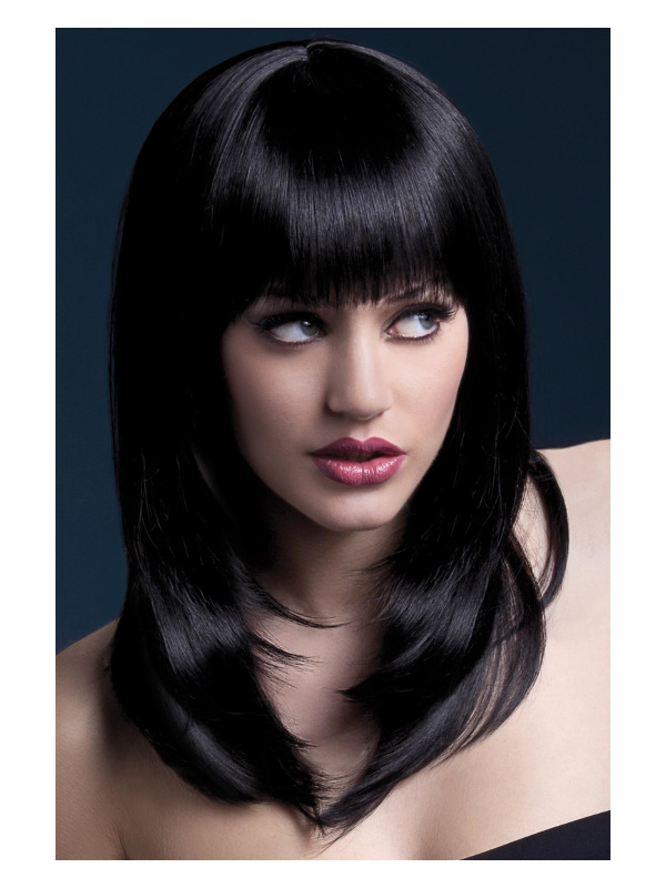 Fever Tanja Wig, Black, Feathered Cut with Fringe, 48cm / 19in
