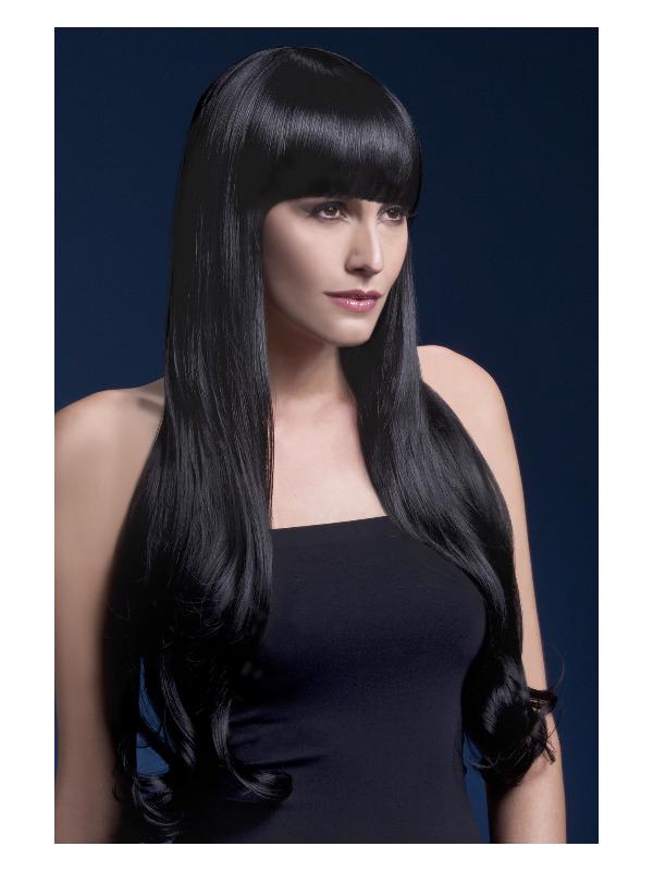 Fever Bella Wig, Black, Natural Wave with Fringe, 28inch/71cm