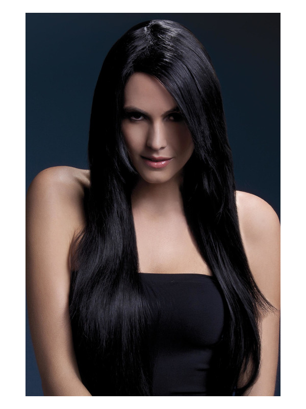Fever Amber Wig, Black, Long Straight with Feathered Fringe, 28inch/71cm