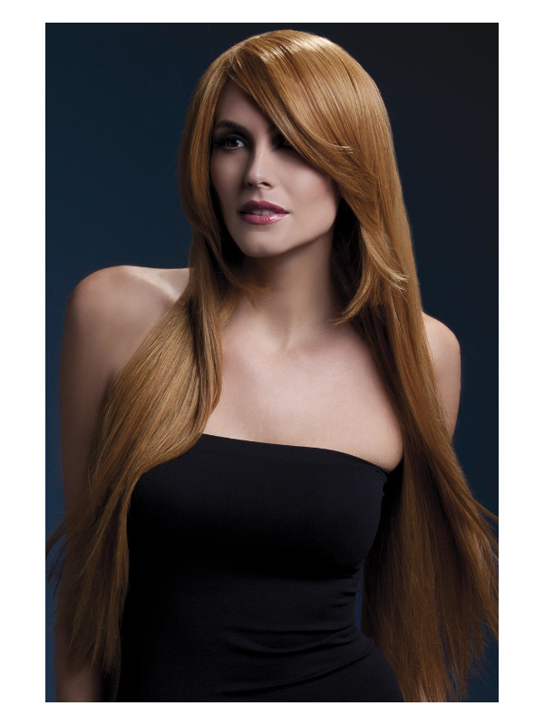 Fever Amber Wig, Auburn, Long Straight with Feathered Fringe, 71cm / 28in