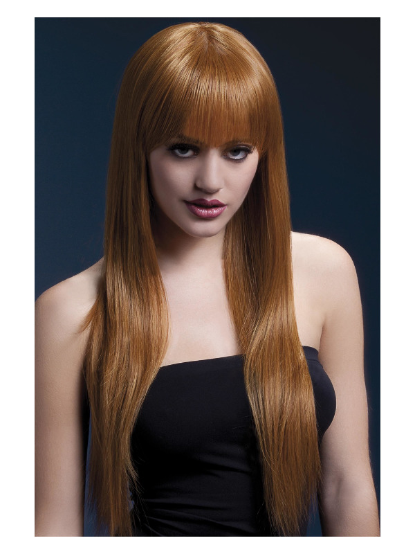 Fever Jessica Wig, Auburn, Long Straight with Fringe, 26inch/66cm