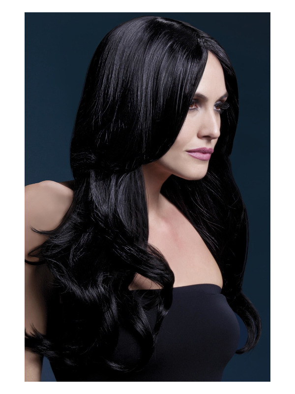 Fever Khloe Wig, Black, Long Wave with Centre Parting, 66cm / 26in