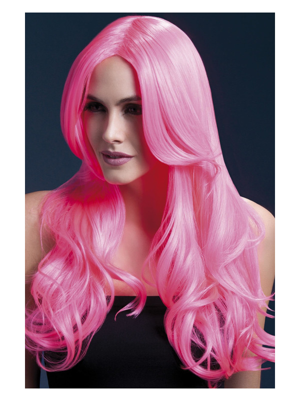 Fever Khloe Wig, Neon Pink, Long Wave with Centre Parting, 66cm / 26in
