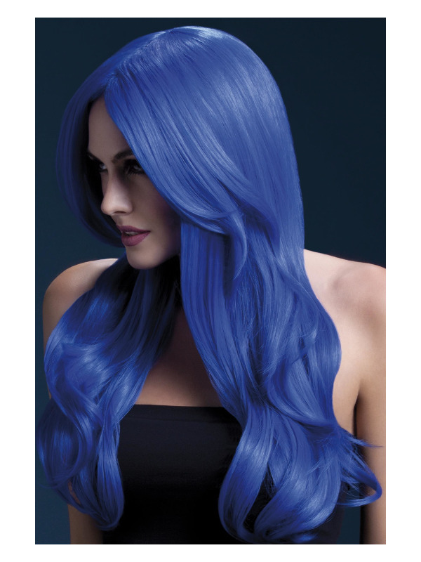 Fever Khloe Wig, Neon Blue, Long Wave with Centre Parting, 66cm / 26in