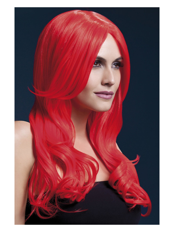 Fever Khloe Wig, Neon Red, Long Wave with Centre Parting, 66cm / 26in