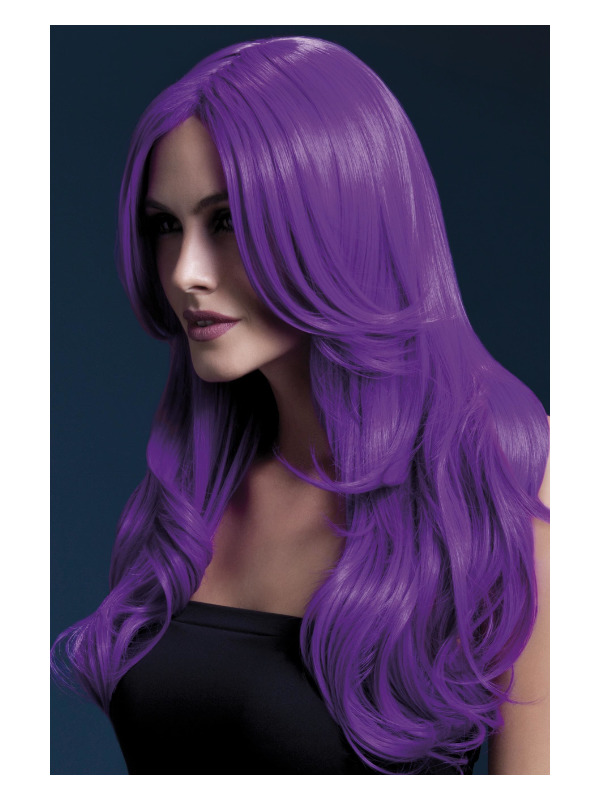 Fever Khloe Wig, Neon Purple, Long Wave with Centre Parting, 66cm / 26in