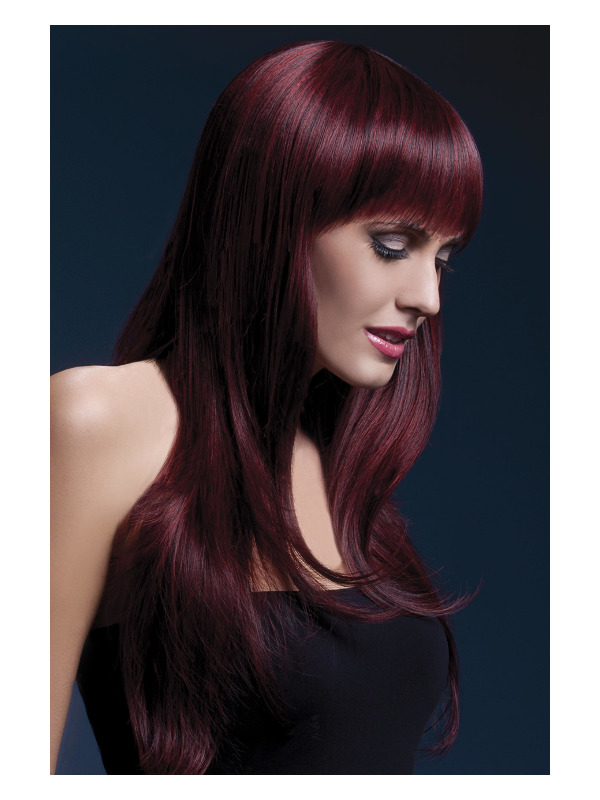 Fever Sienna Wig, Black Cherry, Long Feathered with Fringe, 66cm / 26in