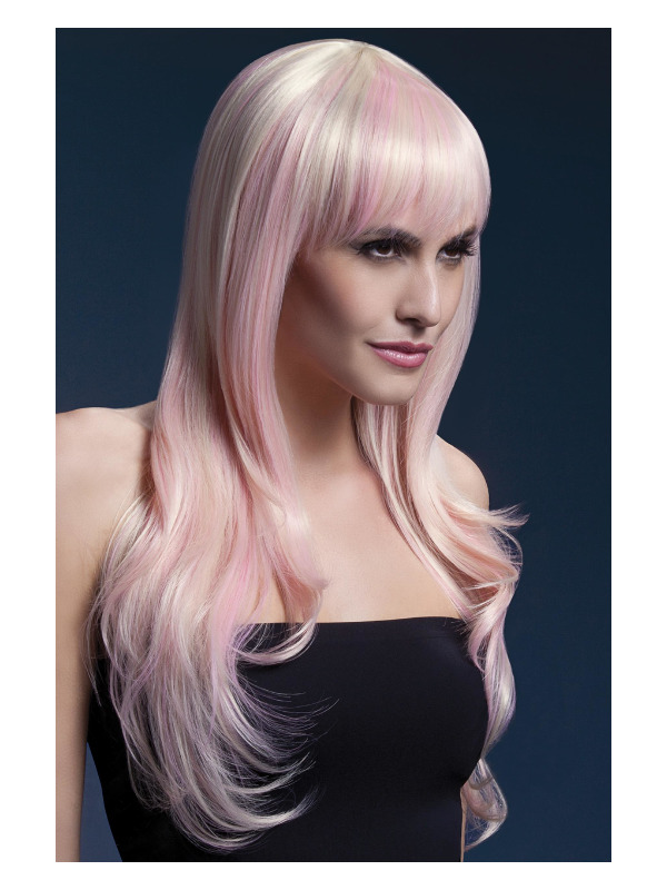 Fever Sienna Wig, Blonde Candy, Long Feathered with Fringe, 66cm / 26in