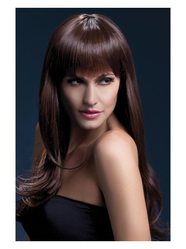Fever Sienna Wig, Brown, Long Feathered with Fringe, 66cm / 26in