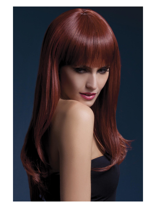 Fever Sienna Wig, Dark Auburn, Long Feathered with Fringe, 66cm / 26in