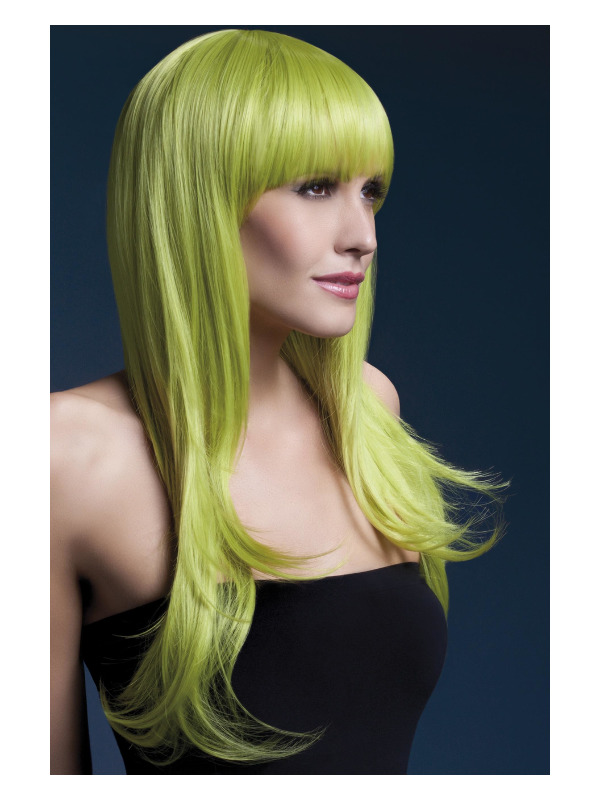 Fever Sienna Wig, Pastel Green, Long Feathered with Fringe, 66cm / 26in