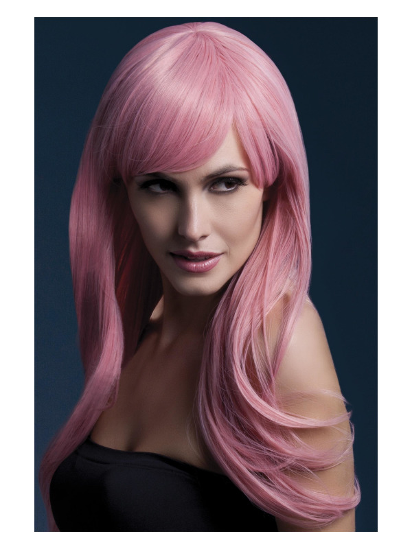 Fever Sienna Wig, Pastel Pink, Long Feathered with Fringe, 66cm / 26in