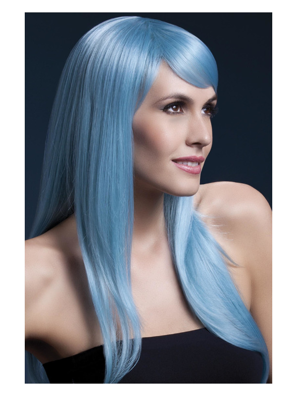 Fever Sienna Wig, Pastel Blue, Long Feathered with Fringe, 66cm / 26in