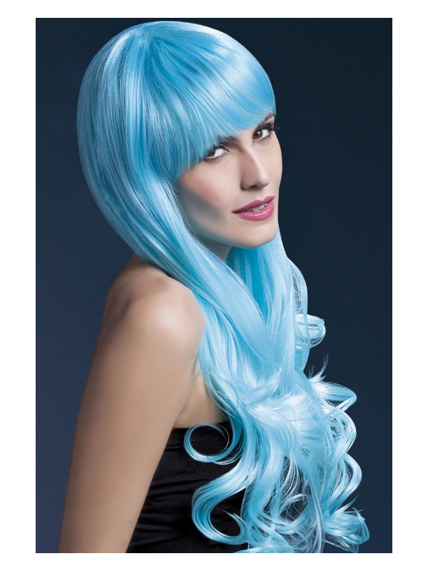 Fever Emily Wig, 2-Tone Blue, Long Soft Curl with Fringe, 28inch/71cm