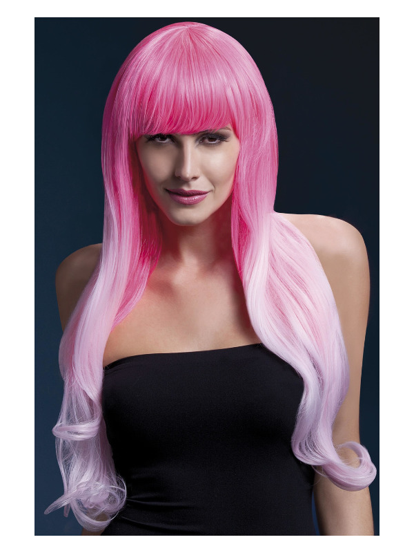 Fever Emily Wig, 2-Tone Pink, Long Soft Curl with Fringe, 28inch/71cm