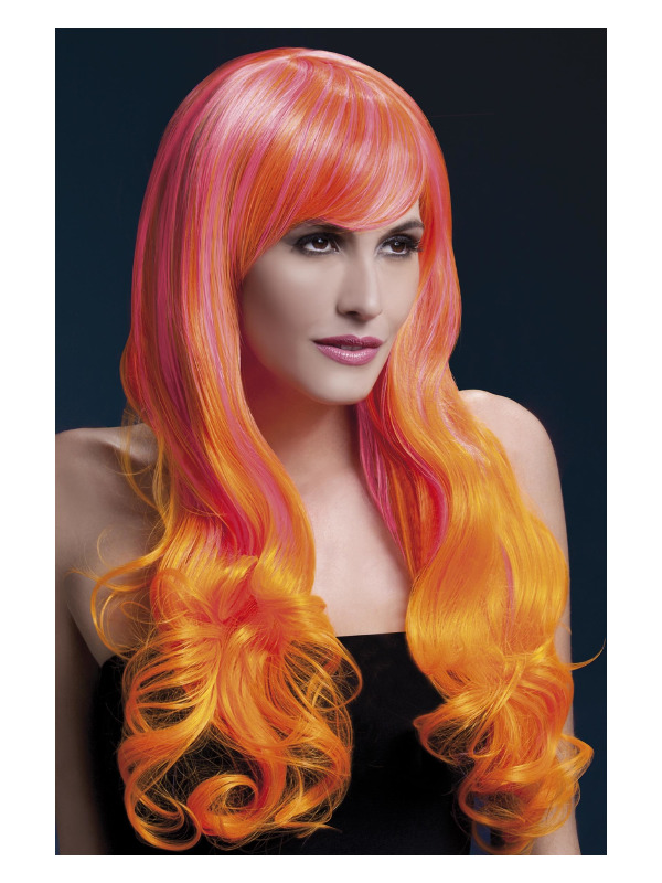 Fever Emily Wig, Pink & Orange, Long Soft Curl with Fringe, 28inch/71cm