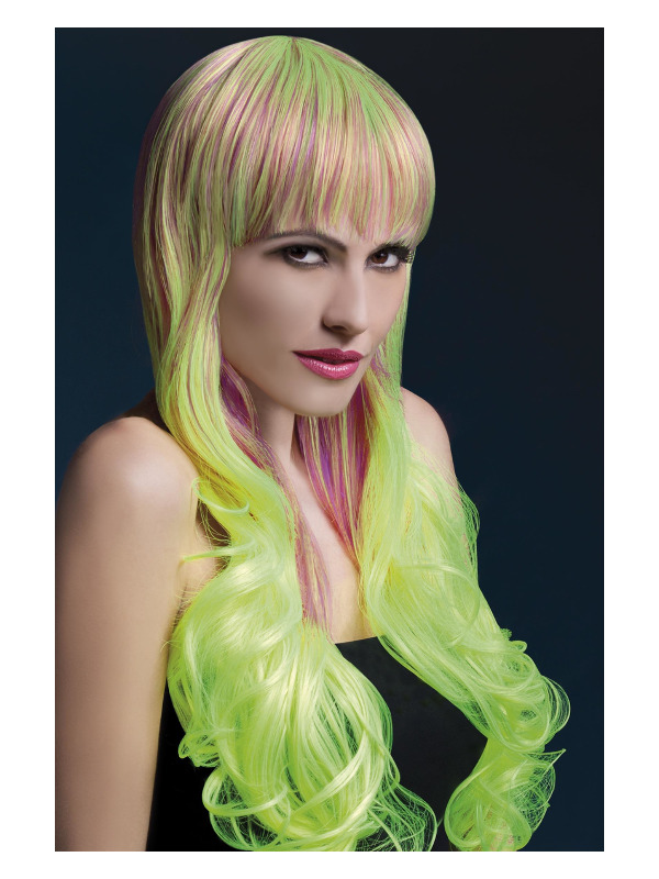 Fever Emily Wig, Purple & Yellow, Long Soft Curl with Fringe, 28inch/71cm
