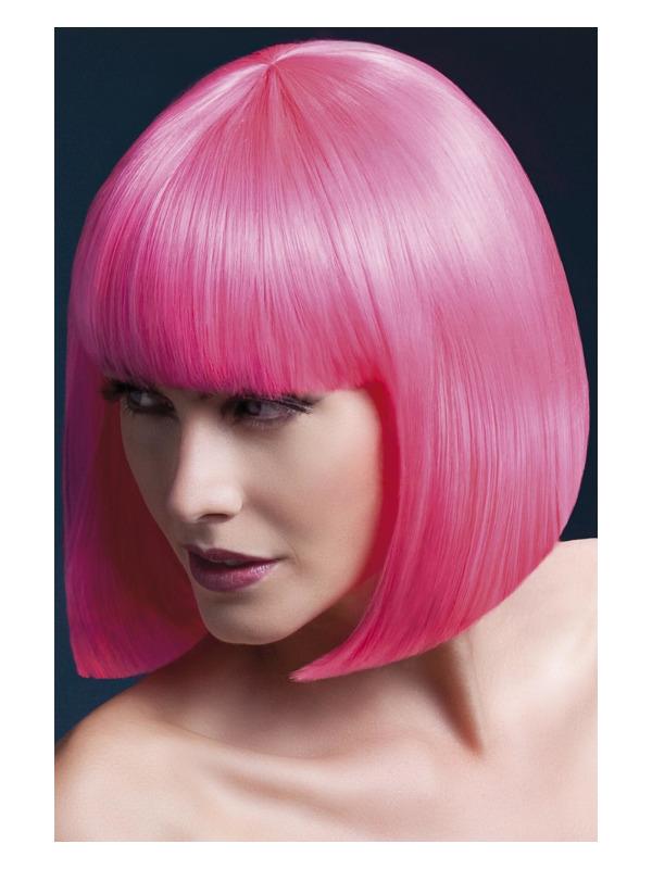 Fever Elise Wig, Neon Pink, Sleek Bob with Fringe, 33cm / 13in